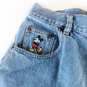 VTG Mickey Inc Disney Jean Shorts Embroidered